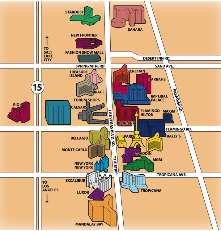 map of vegas strip hotels 2010